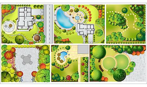 verschillende tuinontwerpen